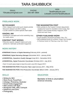 Tara Shubbuck's resume